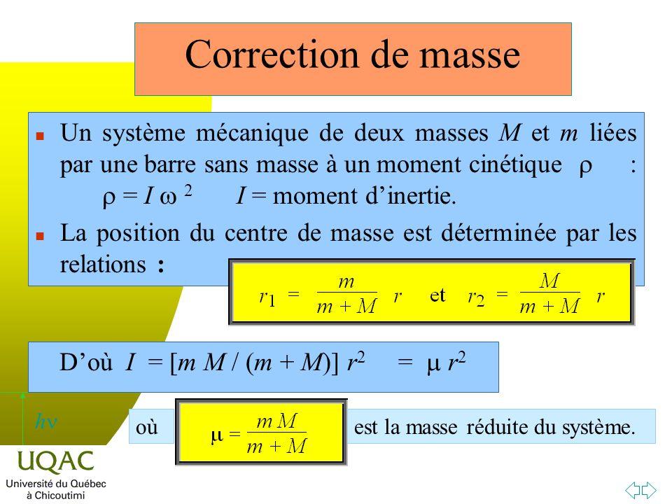 D'où I = [m M / (m + M)] r2 = m r2
